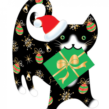 funky quirky unusual modern cool card cards greetings greeting original classic wacky contemporary art illustration photographic distinctive Christmas xmas special-delivery cute animals 3D cut-out carol cat
