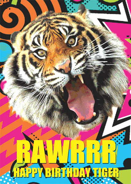 funky quirky unusual modern cool card cards greetings greeting original classic wacky contemporary art illustration photographic distinctive vintage retro toypincher humourous funny rawrrr tiger birthday