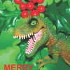 funky quirky unusual modern cool card cards greetings greeting original classic wacky contemporary art illustration photographic distinctive vintage retro Christmas xmas toypincher humourous funny dinosaur holly