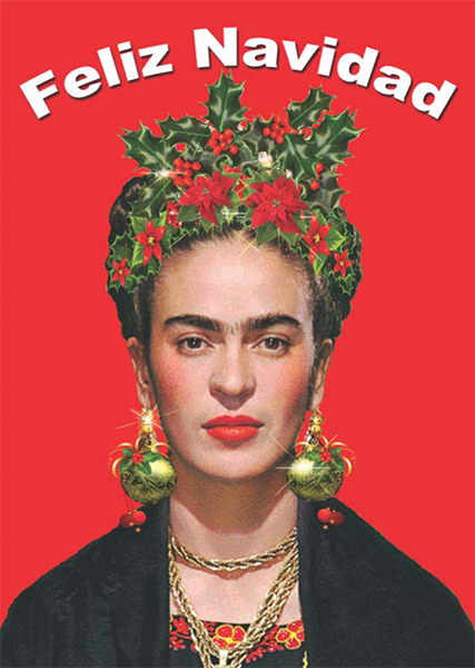 funky quirky unusual modern cool card cards greetings greeting original classic wacky contemporary art illustration photographic distinctive vintage retro Christmas xmas toypincher humourous funny Frida-kahlo feliz navidad