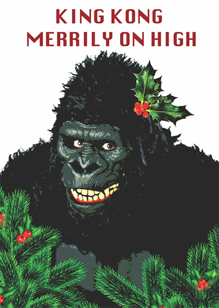 funky quirky unusual modern cool card cards greetings greeting original classic wacky contemporary art illustration photographic distinctive vintage retro Christmas xmas toypincher humourous funny king-kong merrily on high