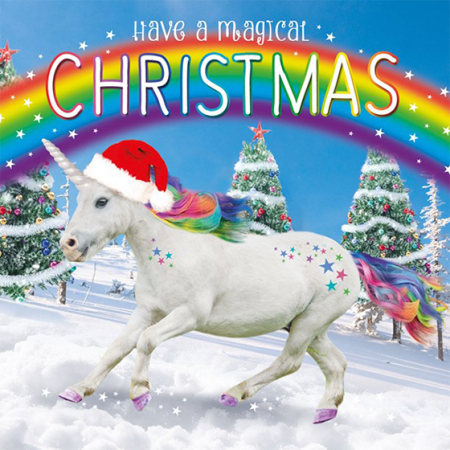 funky quirky unusual modern cool card cards greetings greeting original classic wacky contemporary art illustration photographic distinctive vintage retro Christmas xmas Tracks humourous funny cute unicorn rainbow trust