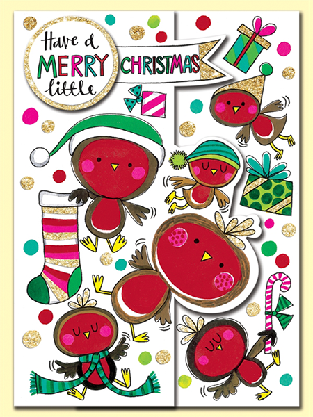 funky quirky unusual modern cool card cards greetings greeting original classic wacky contemporary art illustration photographic distinctive vintage retro jigsaw puzzle Rachel-ellen cute kids Christmas xmas robin merry-little-christmas merry