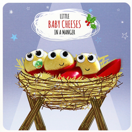 funky quirky unusual modern cool card cards greetings greeting original classic wacky contemporary art illustration photographic distinctive vintage retro Paperlink Christmas xmas Froot-Loop humourous funny baby-cheeses-in-a-manger Jesus cheese