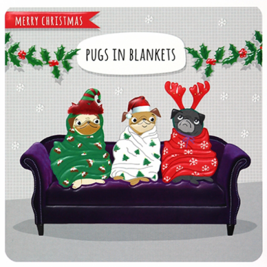 funky quirky unusual modern cool card cards greetings greeting original classic wacky contemporary art illustration photographic distinctive vintage retro Paperlink Christmas xmas Froot-Loop humourous funny pugs blankets dog