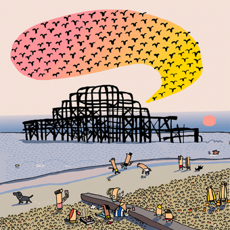 funky quirky unusual modern cool card cards greetings greeting original classic wacky contemporary art illustration photographic vintage retro brighton Lisa holdcroft west pier