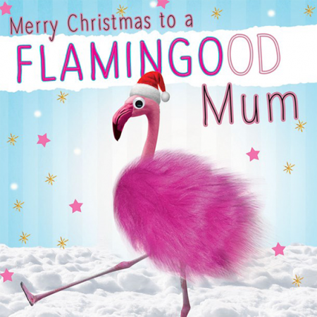 funky quirky unusual modern cool card cards greetings greeting original classic wacky contemporary art illustration photographic distinctive vintage retro Christmas xmas Tracks googly-eyes fluff funny mum flamingo