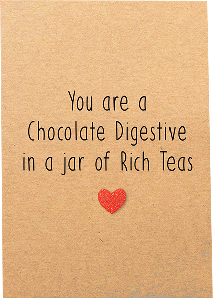 funky quirky unusual modern cool card cards greetings greeting original classic wacky contemporary art illustration photographic distinctive vintage retro humourous funny Bettie-Confetti valentine valentine's-day chocolate digestive biscuit rich tea red glitter heart
