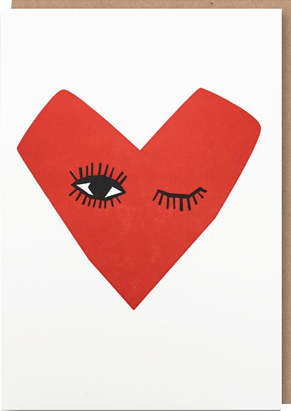 funky quirky unusual modern cool card cards greetings greeting original classic wacky contemporary art illustration photographic distinctive vintage retro humourous funny 1973 nineteen seventy three valentine valentine's-day letterpress love winking heart