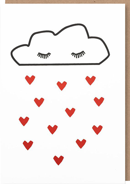 funky quirky unusual modern cool card cards greetings greeting original classic wacky contemporary art illustration photographic distinctive vintage retro humourous funny 1973 nineteen seventy three valentine valentine's-day letterpress love valentine cloud hearts