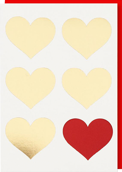funky quirky unusual modern cool card cards greetings greeting original classic wacky contemporary art illustration photographic distinctive vintage retro humourous funny 1973 nineteen seventy three valentine valentine's-day letterpress love gold foil hearts cut-out red heart