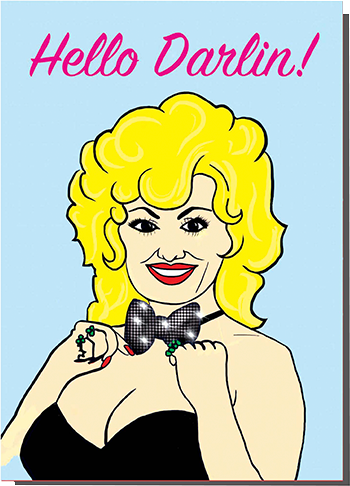 funky quirky unusual modern cool card cards greetings greeting original classic wacky contemporary art illustration photographic distinctive vintage retro humourous funny Bite Your Granny valentine valentine's-day hello Darlin dolly-parton