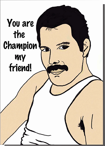 funky quirky unusual modern cool card cards greetings greeting original classic wacky contemporary art illustration photographic distinctive vintage retro humourous funny Bite Your Granny valentine valentine's-day queen Freddie-mercury champion