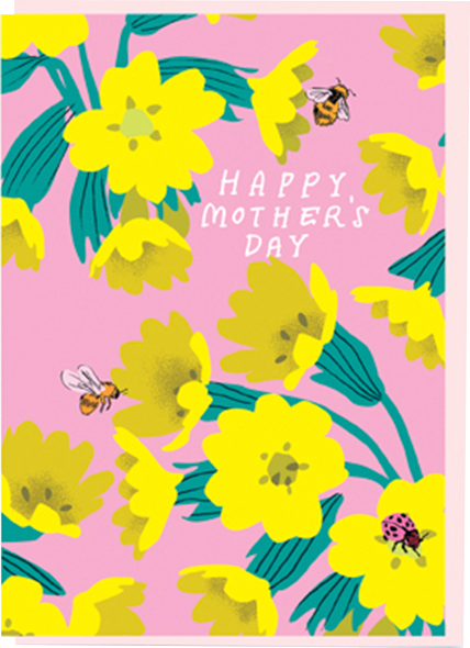 funky quirky unusual modern cool card cards greetings greeting original classic wacky contemporary art illustration photographic distinctive vintage retro mother's day mum mother mummy noi flowers bees