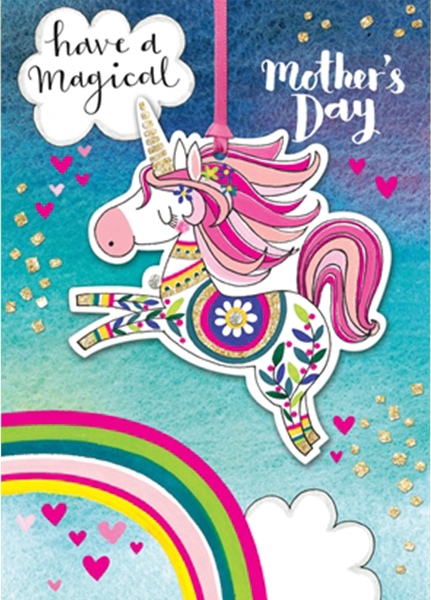 funky quirky unusual modern cool card cards greetings greeting original classic wacky contemporary art illustration photographic distinctive vintage retro humourous funny mother's day mum mother mummy card Rachel Ellen unicorn magical rainbow hanging keepsake