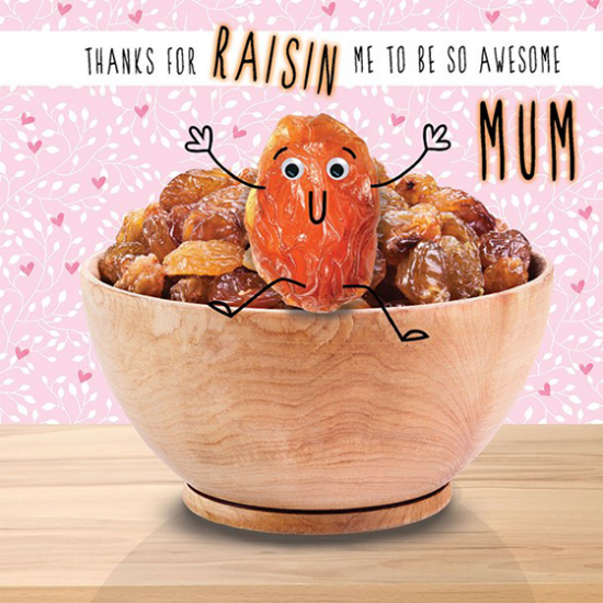 funky quirky unusual modern cool card cards greetings greeting original classic wacky contemporary art illustration photographic distinctive vintage retro humourous funny mother's day mum mother mummy card googly eyes googles tracks raisin
