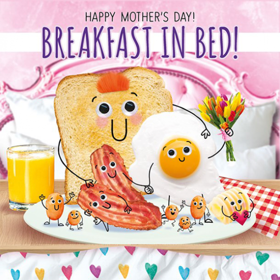 funky quirky unusual modern cool card cards greetings greeting original classic wacky contemporary art illustration photographic distinctive vintage retro humourous funny mother's day mum mother mummy card googly eyes googles tracks fluff breakfast in bed