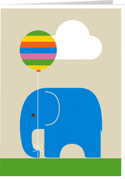 funky quirky unusual modern cool card cards greetings greeting original classic wacky contemporary art illustration photographic distinctive vintage retro Scandinavian graphic midcentury Dicky Bird elephant balloon