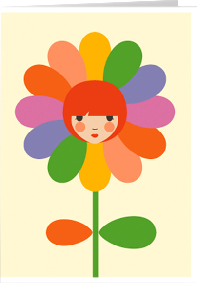 funky quirky unusual modern cool card cards greetings greeting original classic wacky contemporary art illustration photographic distinctive vintage retro Scandinavian graphic midcentury Dicky Bird flowergirl flower girl