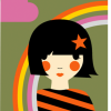 funky quirky unusual modern cool card cards greetings greeting original classic wacky contemporary art illustration photographic distinctive vintage retro Scandinavian graphic midcentury Dicky Bird rainbow girl