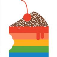 funky quirky unusual modern cool card cards greetings greeting original classic wacky contemporary art illustration photographic distinctive vintage retro Scandinavian graphic midcentury Dicky Bird rainbow cake