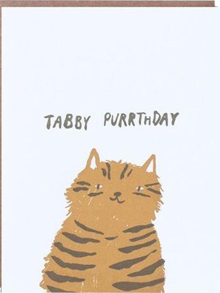funky quirky unusual modern cool card cards greetings greeting original classic wacky contemporary art illustration photographic distinctive vintage retro eggpress 1973 nineteen seventy three letterpress cat birthday tabby purrthday
