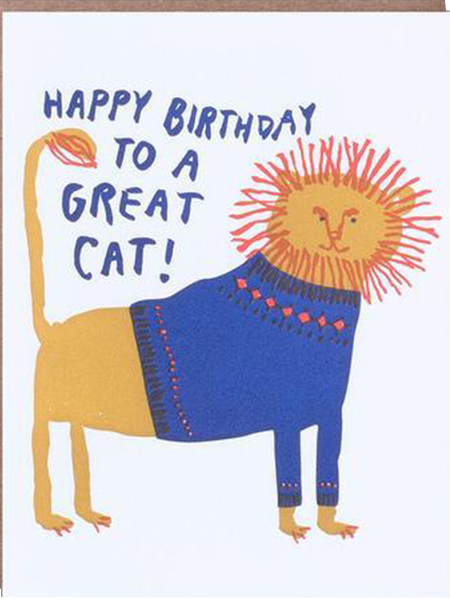 funky quirky unusual modern cool card cards greetings greeting original classic wacky contemporary art illustration photographic distinctive vintage retro eggpress 1973 nineteen seventy three letterpress birthday great cat