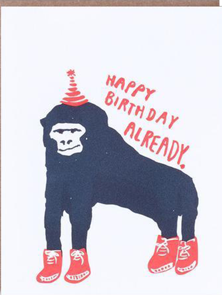 funky quirky unusual modern cool card cards greetings greeting original classic wacky contemporary art illustration photographic distinctive vintage retro eggpress 1973 nineteen seventy three letterpress birthday gorilla monkey