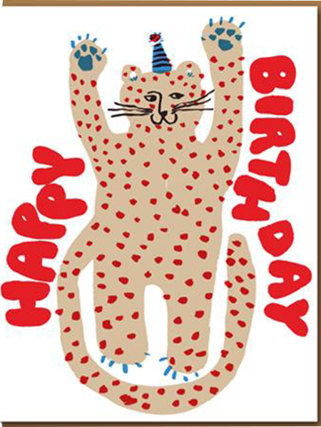 funky quirky unusual modern cool card cards greetings greeting original classic wacky contemporary art illustration photographic distinctive vintage retro eggpress 1973 nineteen seventy three letterpress birthday party cheetah cat