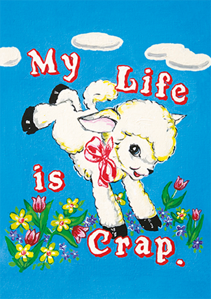 funky quirky unusual modern cool card cards greetings greeting original classic wacky contemporary art illustration photographic distinctive vintage retro Magda archer artpress fuzzy duck my life is crap lamb ma2621