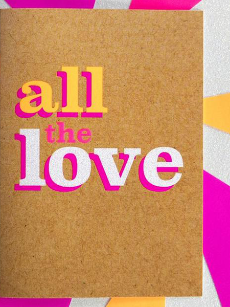 Birthday funky quirky unusual modern cool card cards greetings greeting original classic wacky contemporary art illustration fun funny vintage retro Bettie-Confetti neon colourful slogan all the love