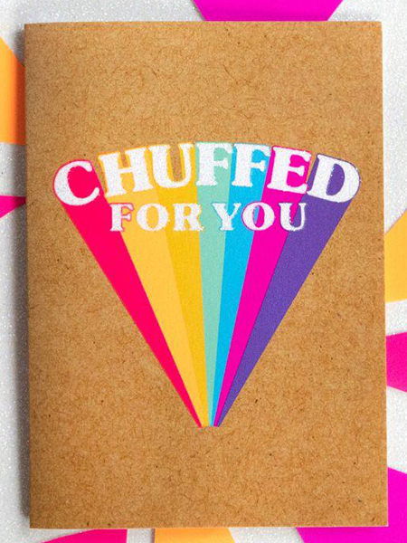 Birthday funky quirky unusual modern cool card cards greetings greeting original classic wacky contemporary art illustration fun funny vintage retro Bettie-Confetti neon colourful slogan chuffed for you congratulations well done