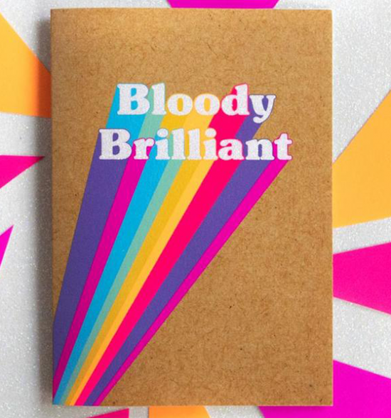 Birthday funky quirky unusual modern cool card cards greetings greeting original classic wacky contemporary art illustration fun funny vintage retro Bettie-Confetti neon colourful slogan bloody brilliant