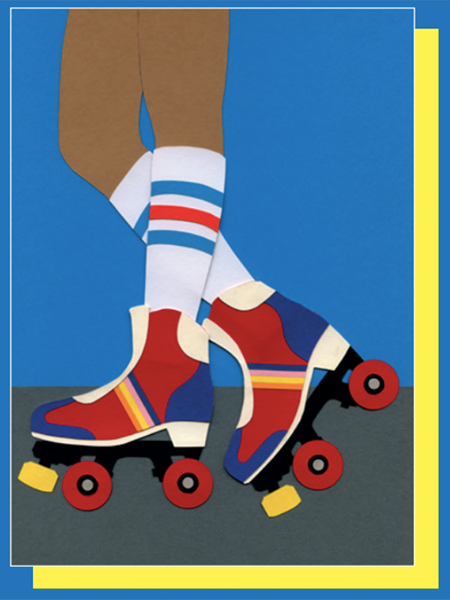 funky quirky unusual modern cool card cards greetings greeting original classic wacky contemporary art illustration photographic east end prints birthday 70s roller skates Rosi Feist design