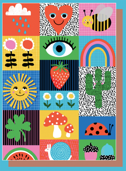 funky quirky unusual modern cool card cards greetings greeting original classic wacky contemporary art illustration photographic east end prints birthday lyaaf wacka design cloud heart bee flower eye rainbow strawberry sun cactus clover toadstool ladybird snail melon acorn
