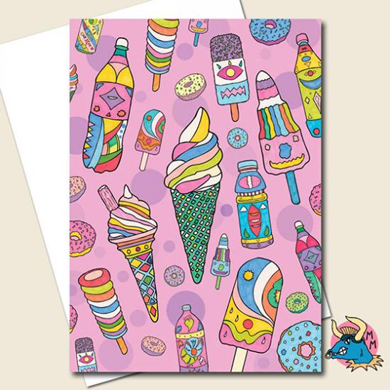 funky quirky unusual modern cool card cards greetings greeting original classic wacky contemporary art illustration photographic distinctive vintage retro manic minotaur brighton ice creams