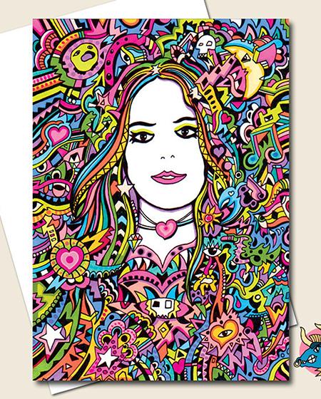funky quirky unusual modern cool card cards greetings greeting original classic wacky contemporary art illustration photographic distinctive vintage retro manic minotaur brighton rainbow girl