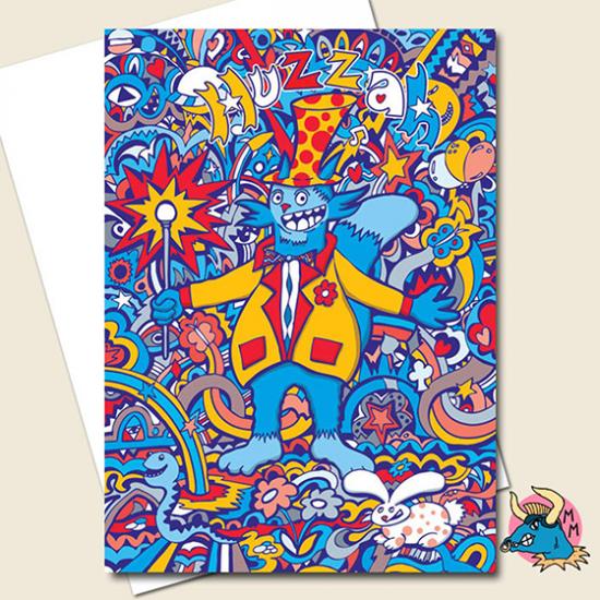 funky quirky unusual modern cool card cards greetings greeting original classic wacky contemporary art illustration photographic distinctive vintage retro manic minotaur brighton huzzah rabbit rainbow