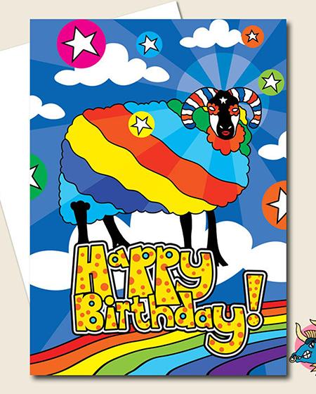 funky quirky unusual modern cool card cards greetings greeting original classic wacky contemporary art illustration photographic distinctive vintage retro manic minotaur brighton cosmic sheep