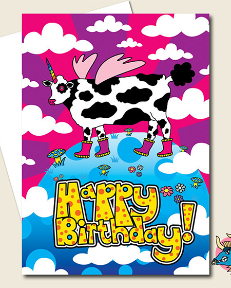 funky quirky unusual modern cool card cards greetings greeting original classic wacky contemporary art illustration photographic distinctive vintage retro manic minotaur brighton unicow unicorn cow rainbow