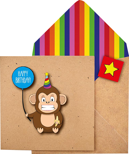 funky quirky unusual modern cool card cards greetings greeting original classic wacky contemporary art illustration photographic distinctive vintage retro Tache cut-out cartoon 3D birthday monkey