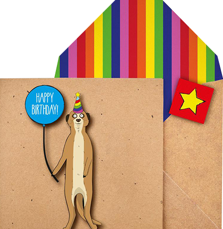 funky quirky unusual modern cool card cards greetings greeting original classic wacky contemporary art illustration photographic distinctive vintage retro Tache cut-out cartoon 3D birthday meerkat balloon