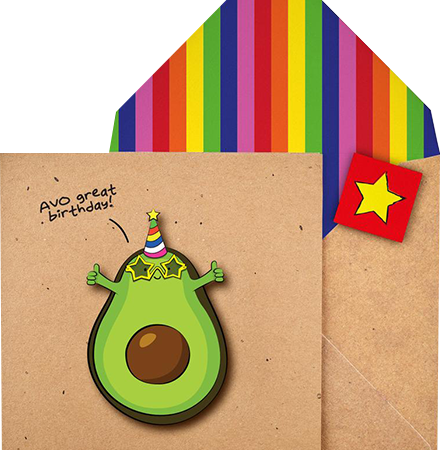 funky quirky unusual modern cool card cards greetings greeting original classic wacky contemporary art illustration photographic distinctive vintage retro Tache cut-out cartoon 3D avocado avo great birthday