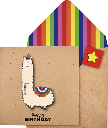 funky quirky unusual modern cool card cards greetings greeting original classic wacky contemporary art illustration photographic distinctive vintage retro Tache cut-out cartoon 3D birthday llama