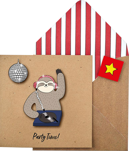 funky quirky unusual modern cool card cards greetings greeting original classic wacky contemporary art illustration photographic distinctive vintage retro Tache cut-out cartoon 3D party sloth DJ disco
