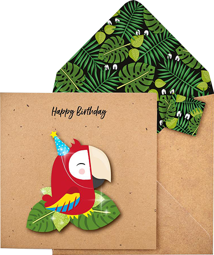 funky quirky unusual modern cool card cards greetings greeting original classic wacky contemporary art illustration photographic distinctive vintage retro Tache cut-out cartoon 3D parrot birthday