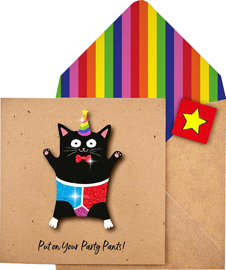 funky quirky unusual modern cool card cards greetings greeting original classic wacky contemporary art illustration photographic distinctive vintage retro Tache cut-out cartoon 3D party pants cat birthday