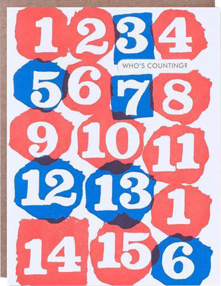 funky quirky unusual modern cool card cards greetings greeting original classic wacky contemporary art illustration photographic distinctive vintage retro eggpress 1973 nineteen seventy three letterpress birthday who's counting numbers malarkey ep0215