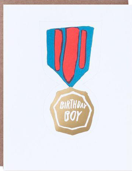 funky quirky unusual modern cool card cards greetings greeting original classic wacky contemporary art illustration photographic distinctive vintage retro eggpress 1973 nineteen seventy three letterpress birthday malarkey boy removable wearable medal ep0222
