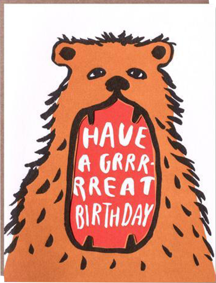 funky quirky unusual modern cool card cards greetings greeting original classic wacky contemporary art illustration photographic distinctive vintage retro eggpress 1973 nineteen seventy three letterpress birthday malarkey ep0315 bear great birthday mouth